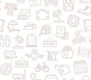 旅行,假期,旅游业,休闲,无缝的样式,概述,白色,传染媒介 免版税库存图片