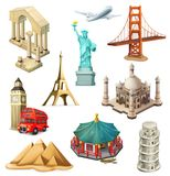 旅行,旅游胜地 纸板颜色图标图标设置了标签三向量 库存图片