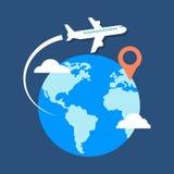 旅行,目的地概念 时髦平的设计 免版税库存图片