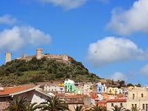 旅行, Castel,博萨撒丁岛, montain,老城市 库存图片