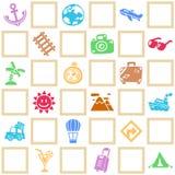 旅行/假期样式题材五颜六色的无缝的背景  免版税库存图片
