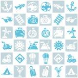 旅行/假期样式题材灰色和蓝色无缝的背景  免版税库存照片