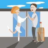 旅行年轻对男人和妇女平的传染媒介例证 免版税库存照片