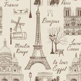 旅行巴黎无缝的样式 在欧洲墙纸的假期 免版税库存照片