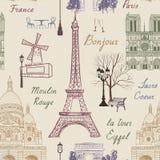 旅行巴黎无缝的样式 在欧洲墙纸的假期 库存照片