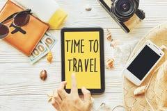 旅行 时刻旅行概念在黄色片剂屏幕上的文本标志 免版税库存图片