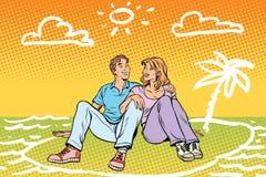 旅行年轻美好的夫妇梦想  向量例证