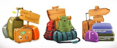 旅行 袋子、背包、手提箱和木标志 免版税库存照片