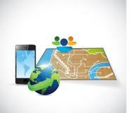 旅行gps计划概念例证 免版税库存照片