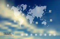 旅行infographic结束天蓝色被弄脏的背景 库存照片