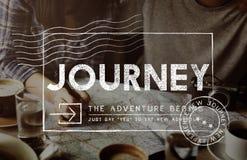旅途冒险岗位邮票旅行概念 免版税图库摄影
