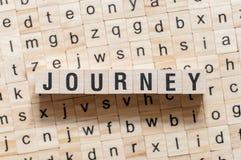 旅途在立方体的词概念 免版税库存照片