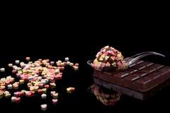 旅长巧克力矿块匙子 库存照片