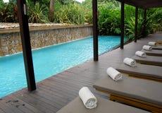 旅馆园艺的自然池样式 免版税图库摄影