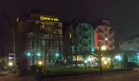旅馆在夜波摩莱的中心在保加利亚 库存照片