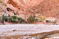 旅馆在Todgha峡谷 摩洛哥 免版税图库摄影