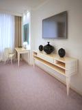 旅馆客房家具在白天 免版税库存图片