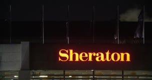 旅馆希拉顿标志夜视图  影视素材