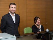 旅馆招待会职员的画象 免版税库存照片