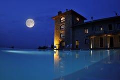 旅馆晚上池 库存照片