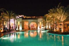 旅馆普遍照明的晚上 库存照片