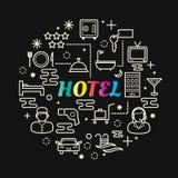 旅馆最小的稀薄的线被设置的象 免版税库存照片