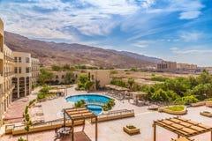 旅馆游泳池有沙漠的看法晃动 免版税库存图片