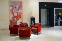 旅馆的现代大厅的片段 免版税库存图片