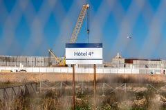 旅馆的被放弃的建造场所 免版税库存照片
