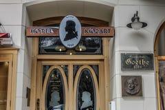 旅馆约翰・沃尔夫冈・冯・歌德是一个客人的莫扎特,卡洛维变化 图库摄影