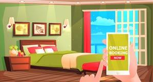 旅馆网上预定的横幅 现代室内部休息传染媒介动画片例证的 库存例证