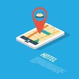 旅馆航海点和别针 智能手机gps 库存照片