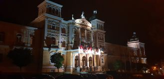 旅馆,夜,光,历史, 图库摄影