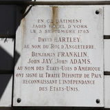旅馆D约克,这个大厦的巴黎法国-, 1783年9月3日,美国的代表和英语的国王 库存照片