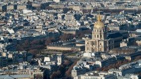 旅馆des Invalides的鸟瞰图在巴黎 免版税库存照片