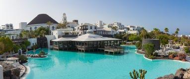旅馆Volcan兰萨罗特岛宽射击 免版税库存照片
