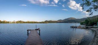 旋律Lagoa da康塞桑-弗洛里亚诺波利斯,圣卡塔琳娜州,巴西da Lagoa地区全景  库存照片