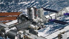 旋转在地球大气的国际空间站ISS的现实3D动画 宇航员空间行走 此的要素 向量例证