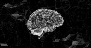 旋转形成的人脑微粒 演变结节的结构  蓝色抽象未来派科学和 向量例证