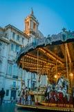 旋转木马和教会在罗马 库存图片