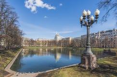 族长的池塘在莫斯科 免版税库存照片