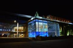 水族馆拉罗歇尔法国在晚上 免版税库存照片
