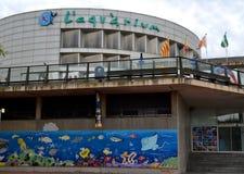 水族馆的看法在巴塞罗那,西班牙 免版税库存照片