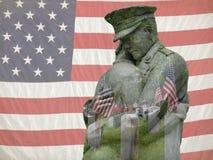 旗子两次曝光的退伍军人 免版税库存照片