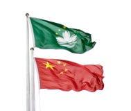 旗子中国和澳门 免版税库存照片