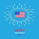 旗子光亮的作用愉快的独立日美国 7月4日 蓝色背景卡片平的设计 免版税库存图片