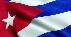旗子古巴,真正的纹理颜色红色古巴旗子蓝色和白色的挥动的织品纹理  库存例证