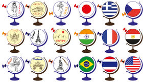 旗子和吸引力在世界地球 免版税图库摄影