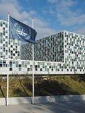 旗子和国际刑事法院在新2015打开了ICC修造 库存图片