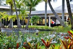 旗子在旅馆卡塔龙尼亚皇家Bavaro里在多米尼加共和国 图库摄影